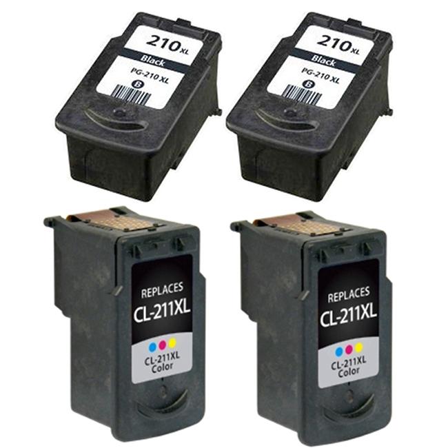 4 PK SET PG-210XL CL-211XL Black /& Color  Ink Cartridge for Canon PIXMA MX410