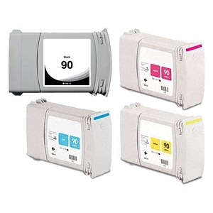 4 Pack HP 90 DesignJet 4000, 4020, 4500, 4520 Remanufactured Inkjet Cartridges