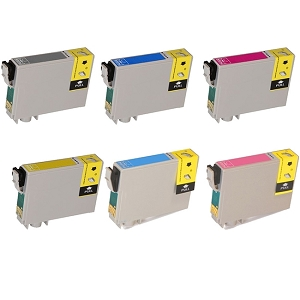 6 Pack Epson T048 Stylus Photo R200, R220, R300, R320, R340, RX500, RX600, RX620 Inkjet Cartridges