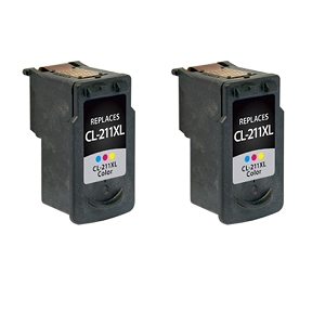 2 Pack Canon CL-211XL 2975B001 Tri-Color Compatible Inkjet Cartridge