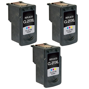 3 Pack Canon CL-211XL 2975B001 Tri-Color Compatible Inkjet Cartridge