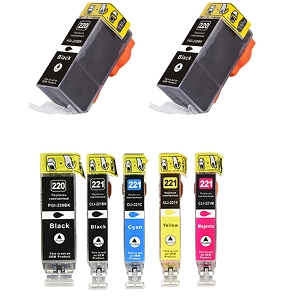 7 Pack Canon PGI-220BK CLI-221 PIXMA MP980, PIXMA MP990 Inkjet Cartridges