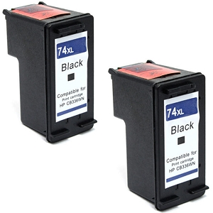 2 Pack HP 74XL CB336WN Black High Yield Inkjet Cartridge