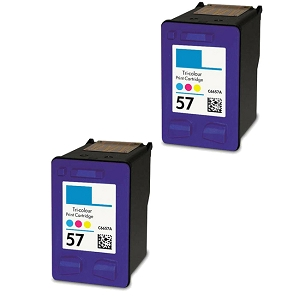 2 Pack HP 57 C6657A Tri-Color Inkjet Cartridge