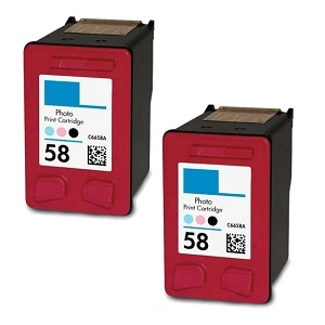 2 Pack HP 58 C6658AN Photo Inkjet Cartridge