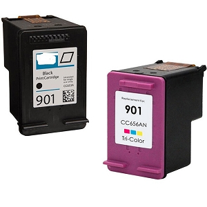 2 Pack HP 901 CC653AN CC656AN OfficeJet 4500, G510, J4524, J4525, J4540, J4680 Inkjet Cartridges
