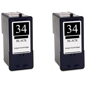 2 Pack Lexmark 34 18C0034 Black Inkjet Cartridge