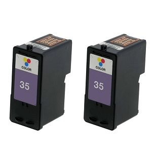 2 Pack Lexmark 35 18C0035 Tri-Color Inkjet Cartridge