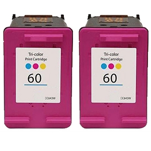 2 Pack HP 60 CC643WN Tri-Color Inkjet Cartridge