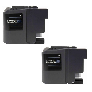2 Pack Brother LC20E  LC20EBK Black Inkjet Cartridge MFC-J5920DW, J775DW, J785DW, J985DW