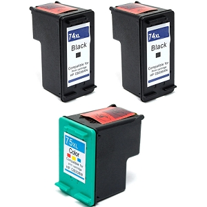 3 Pack HP 74XL CB336WN Black HP 75XL CB338WN Tri-Color High Yield Inkjet Cartridges