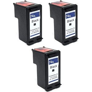 3 Pack HP 74XL CB336WN Black High Yield Inkjet Cartridge