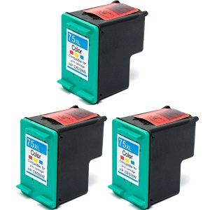 3 Pack HP 75XL CB338WN Tri-Color High Yield Inkjet Cartridge