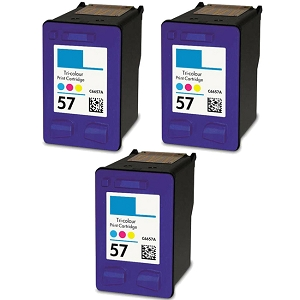 3 Pack HP 57 C6657A Tri-Color Inkjet Cartridge