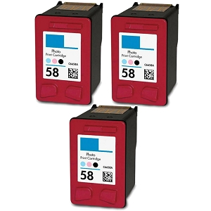 3 Pack HP 58 C6658AN Photo Inkjet Cartridge