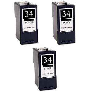 3 Pack Lexmark 34 18C0034 Black Inkjet Cartridge