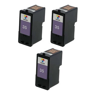 3 Pack Lexmark 35 18C0035 Tri-Color Inkjet Cartridge