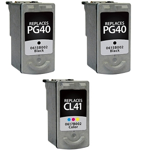 3 Pack Canon PG-40 Black  CL-41 Tri-Color Inkjet Cartridges