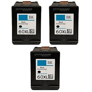 3 Pack HP 60XL CC641WN Black High Yield Inkjet Cartridge