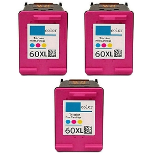 3 Pack HP 60XL CC644WN Tri-Color High Yield Inkjet Cartridge