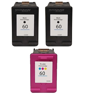 3 Pack HP 60 2 Pack CN640WN Black and CC643WN Tri-Color Inkjet Cartridges