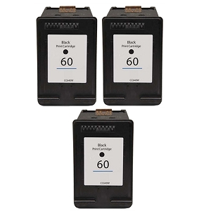 3 Pack HP 60 CN640WN Black Inkjet Cartridge