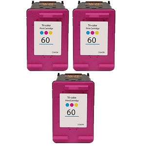 3 Pack HP 60 CC643WN Tri-Color Inkjet Cartridge