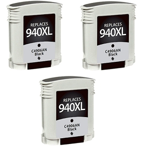 3 Pack HP 940XL C4906AN Black Inkjet Cartridge OfficeJet Pro 8000, 8500, 8500A