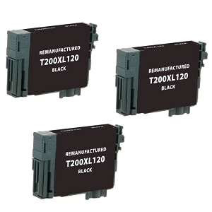 3 Pack Epson T200XL T200XL120 Black High Yield Inkjet Cartridge