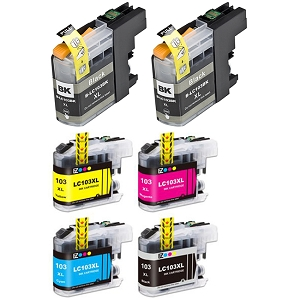 6 Pack Brother LC103 DCP-J152W Remanufactured High Yield Ink Cartridges