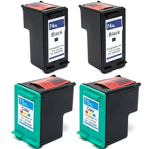 4 Pack HP 74XL CB336WN Black HP 75XL CB338WN Tri-Color High Yield Inkjet Cartridges