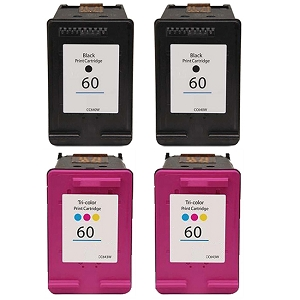 4 Pack HP 60 2 Pack CN640WN Black and 2 Pack CC643WN Tri-Color Inkjet Cartridges