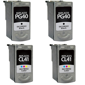 4 Pack Canon PG-40 Black  CL-41 Tri-Color Inkjet Cartridges