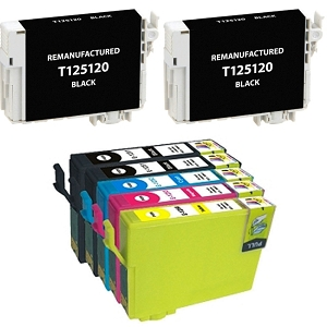 6 Pack Epson T125 T125120 T125220 T125320 T125420 Inkjet Cartridges