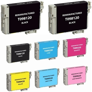 8 Pack Epson T098 T099 BK/C/M/Y/LC/LM Compatible Ink Cartridges Artisan 700 710 725 730 800 810 835 837