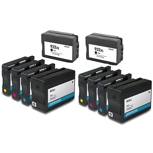 10 Pack HP 932XL Black 933XL C/M/Y Compatible High Yield Inkjet Cartridges