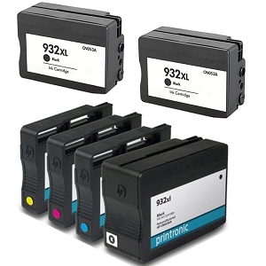 6 Pack HP 932XL Black 933XL C/M/Y Compatible High Yield Inkjet Cartridges