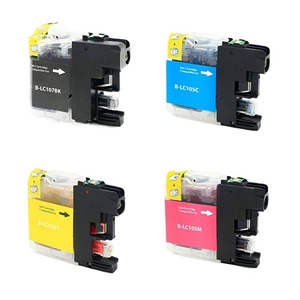 4 Pack Brother LC107BK Black and LC105 C/M/Y High Yield Inkjet Cartridges