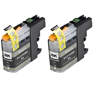 2 Pack Brother LC103 LC103BK LC101BK Black Remanufactured High Yield Ink Cartridge DCP-J152W