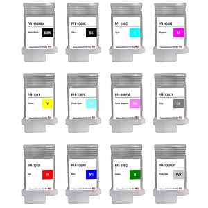 Canon PFI-106 Remanufactured Ink Compatible Cartridge MBK/BK/C/M/Y/GY/PC/PM/PGY/R/G/B