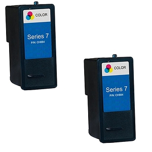 2 Pack Dell Series 7 CH884 310-8374 Tri-Color Compatible High Yield Ink Cartridge All-In-One 966 968 968w