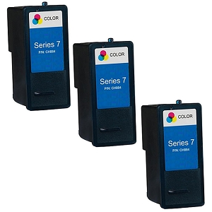 3 Pack Dell Series 7 CH884 310-8374 Tri-Color Compatible High Yield Ink Cartridge All-In-One 966 968 968w