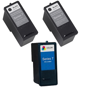 3 Pack Dell Series 7 CH883 Black CH884 Tri-Color High Capacity Inkjet Cartridge 966 968 968w All-In-One