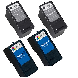 4 Pack Dell Series 7 CH883 Black CH884 Tri-Color High Capacity Inkjet Cartridge 966 968 968w All-In-One