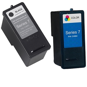 2 Pack Dell Series 7 CH883 Black CH884 Tri-Color High Capacity Inkjet Cartridge 966 968 968w All-In-One