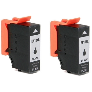 2 Pack Epson T312XL T312XL120 Black Remanufactured High Yield Ink Cartridge Expression Photo XP-8500 HD XP-15000