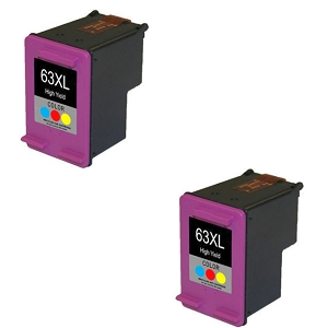 2 Pack HP 63XL F6U63AN Tri-Color High Yield Ink Cartridge