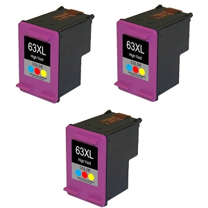 3 Pack HP 63XL F6U63AN Tri-Color High Yield Ink Cartridge