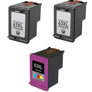 2 Pack HP 63XL F6U64AN Black and 1 Pack HP 63XL F6U63AN Tri-Color High Yield Ink Cartridges