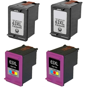 2 Pack HP 63XL F6U64AN Black and 2 Pack HP 63XL F6U63AN Tri-Color High Yield Ink Cartridges